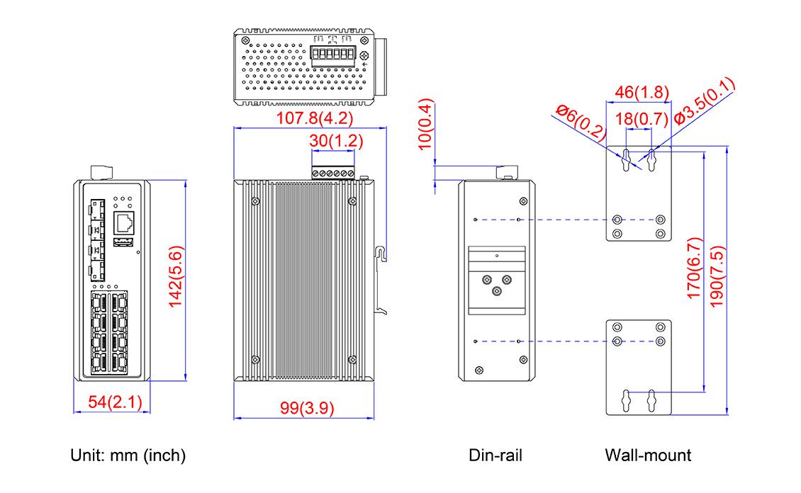 12-Port Industrial Gigabit Managed Ethernet Switch - 8*10
