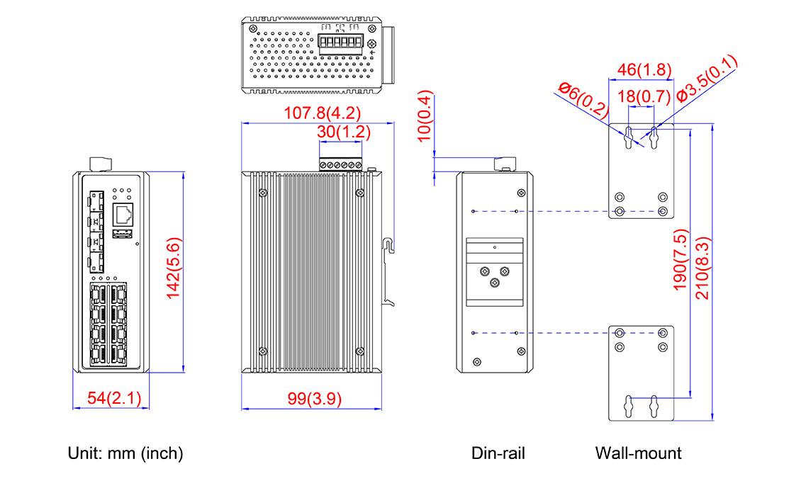 12-Port Industrial Gigabit PoE+ Managed Ethernet Switch - 8